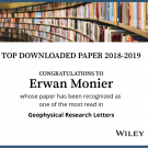 Wiley 'Top downloaded paper award 2018-2019' in Geophysical Research Letters